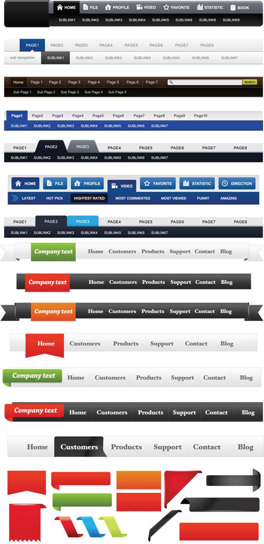 网页菜单栏模板下载 网页菜单栏图片下载网页菜单栏矢量设计 菜单导航