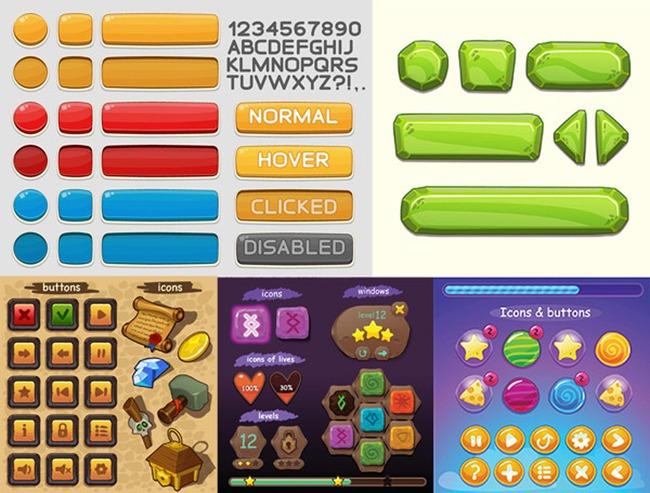 卡通手机游戏按钮图片下载 精美的卡通手机游戏按钮图标设计素材 智能
