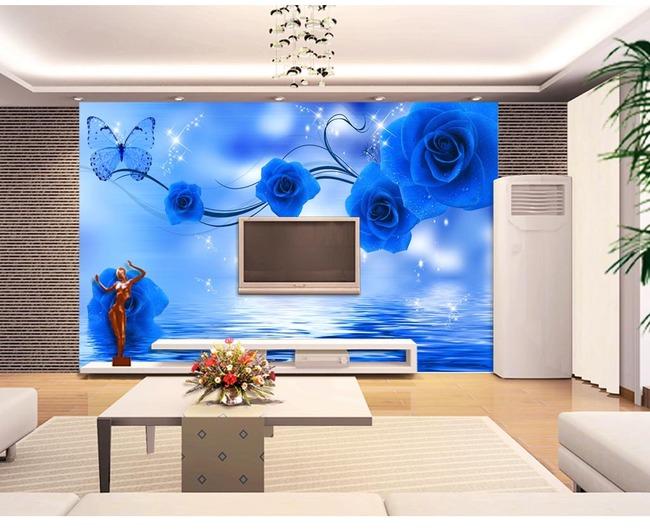 蓝色妖姬背景壁画玫瑰倒影电视墙一品墙纸图片
