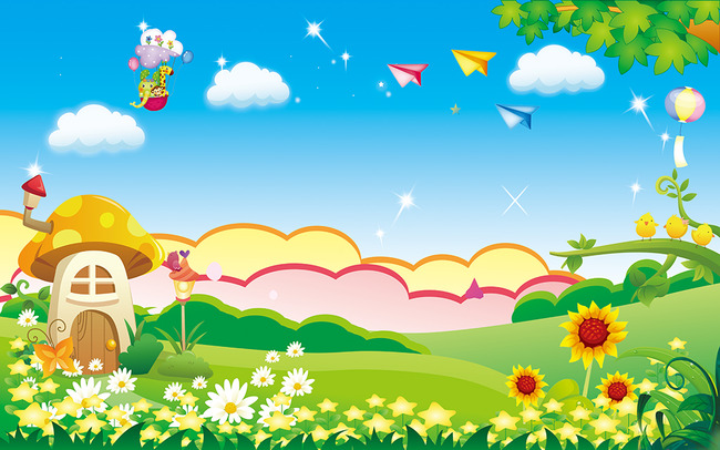 卡通壁画蓝天白云飞机电视背景墙