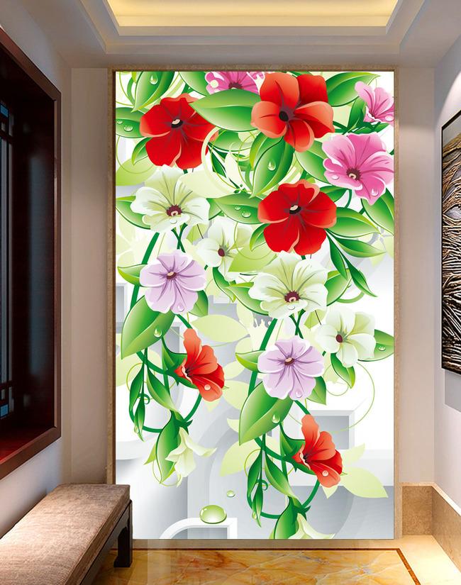 田园风3d立体藤蔓鲜花玄关壁画背景墙