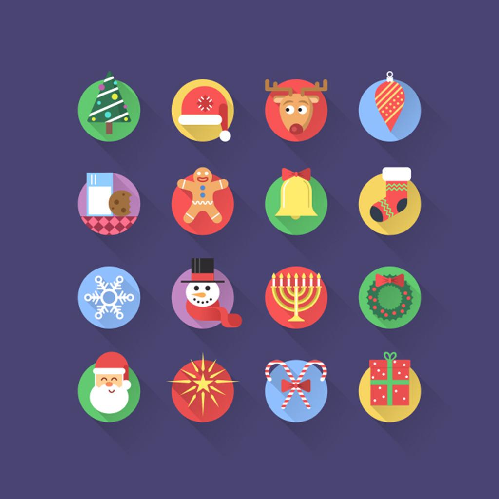 圣诞节彩色图标图片下载圣诞书老人铃铛袜子
