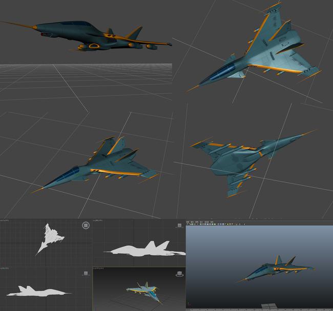 未来战机战斗机max,maya