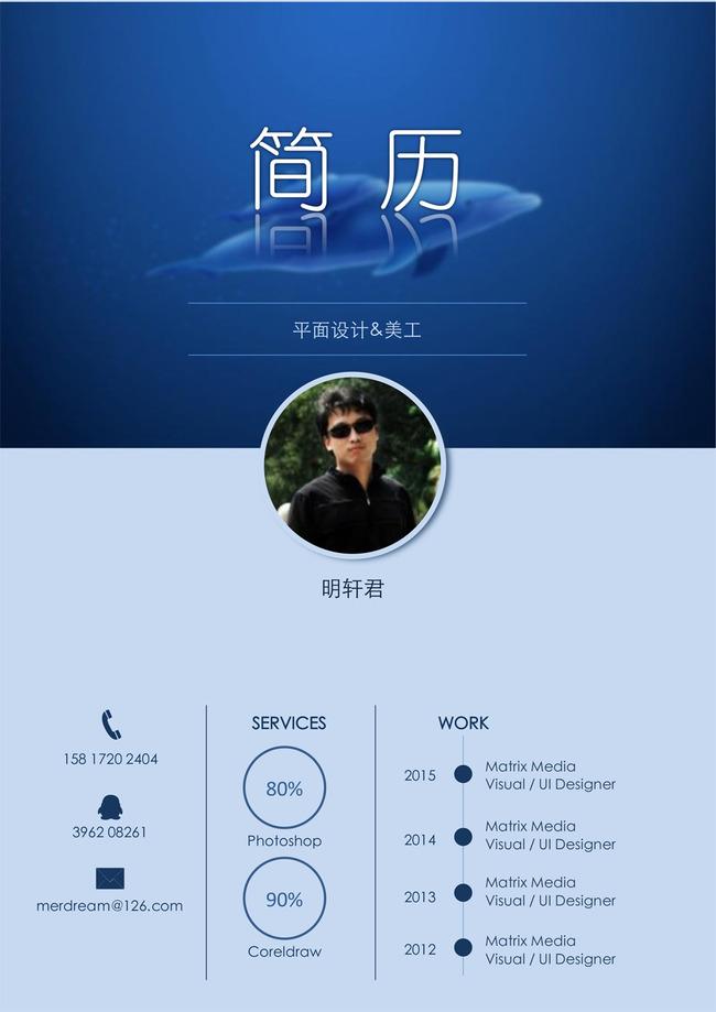 蓝色风格个人简历封面设计图片