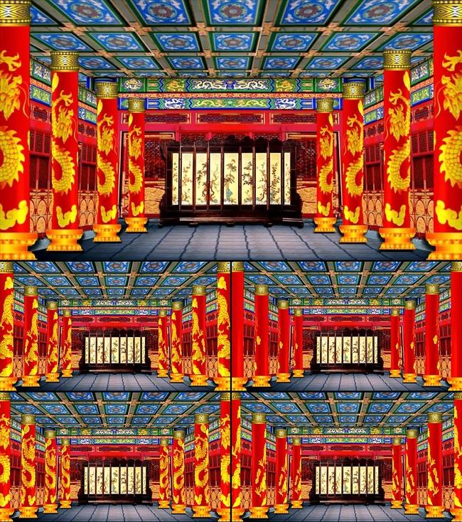 中式婚礼宫殿喜庆龙柱婚庆视频led图片