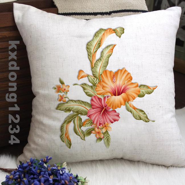 小清新手绘百合分层抱枕图案设计