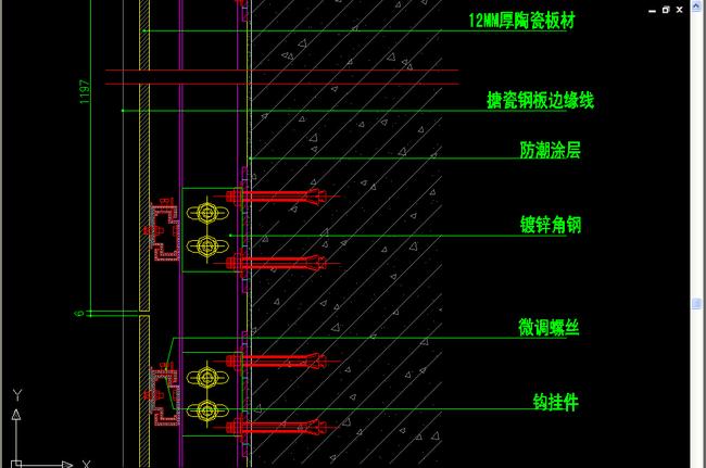 室内设计 cad图库 节点详图cad图纸 > 干挂瓷砖标准节点