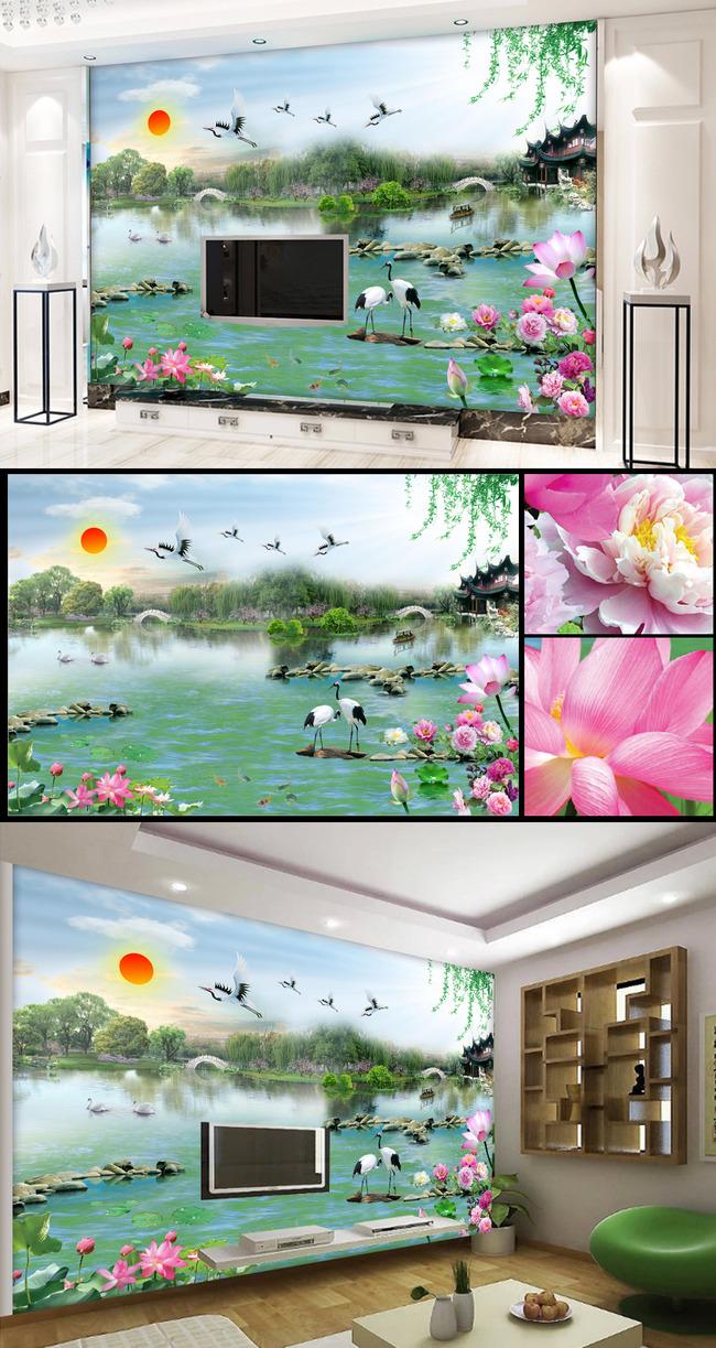 荷花亭子桥风景手绘画