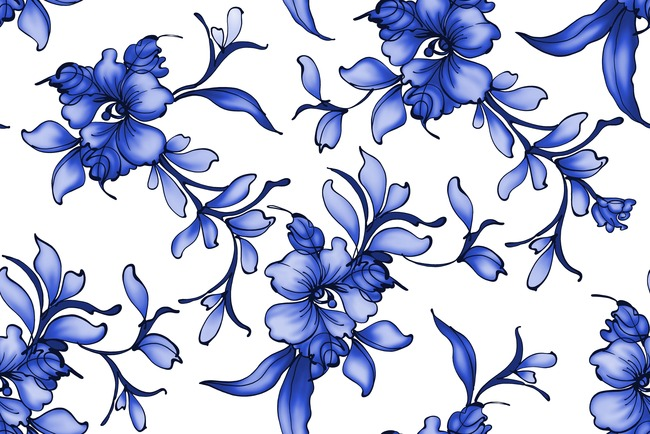 陶瓷兰彩青花瓷植物花朵psd画