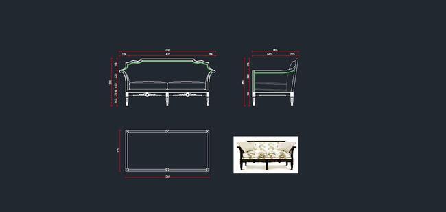欧式家具cad图纸,沙发cad图下载14