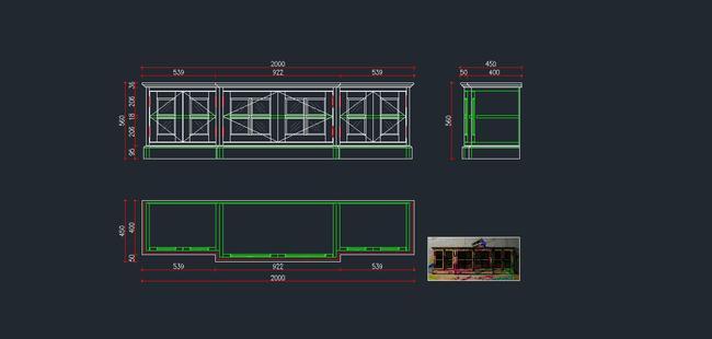 欧式家具cad图纸,电视柜cad图下载4