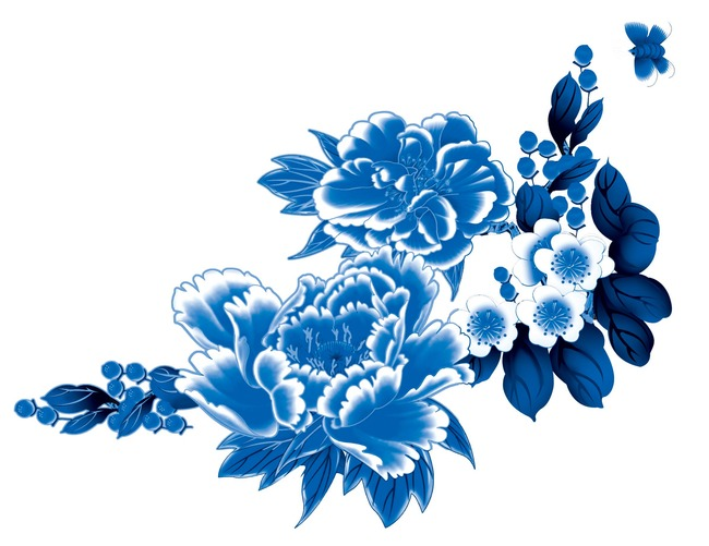 平面设计 花纹图案设计 花纹素材 > 手绘青花陶瓷兰彩花朵花卉psd  下