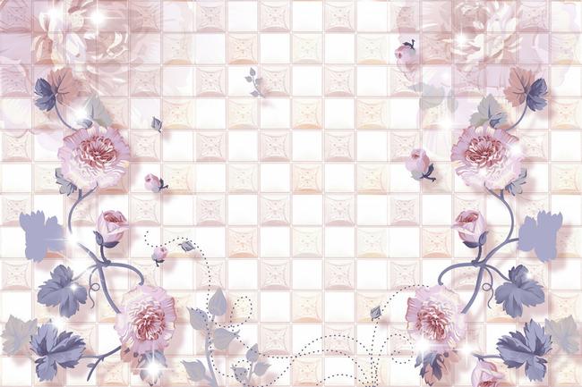 3d蔷薇花电视背景墙