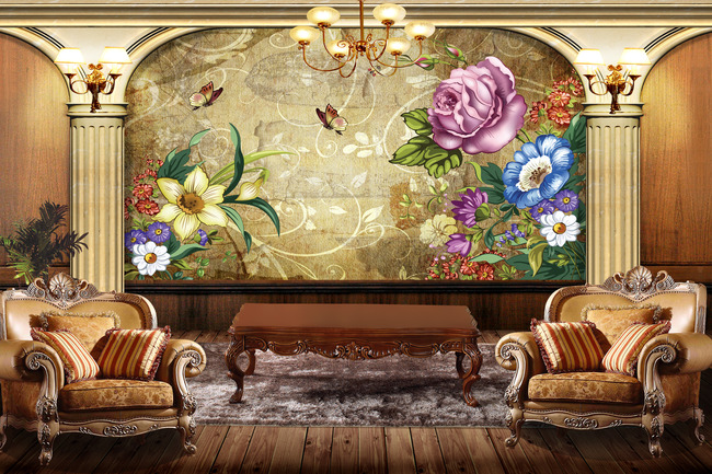 3d欧式背景墙立体壁画图片