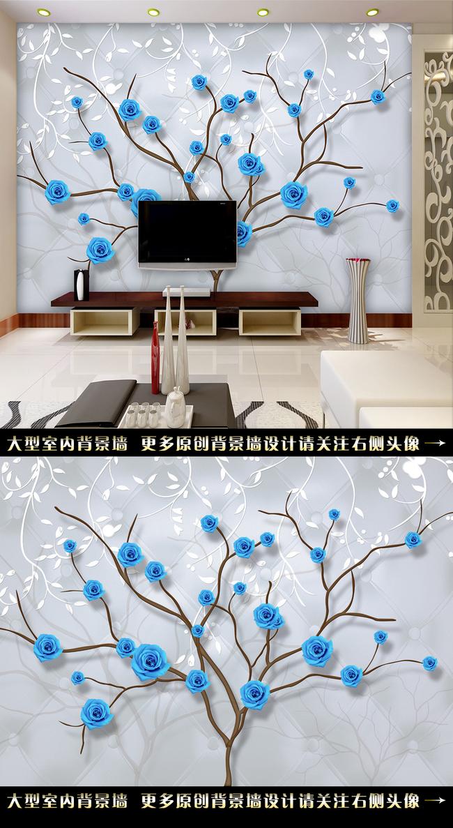 手绘文艺电视背景墙