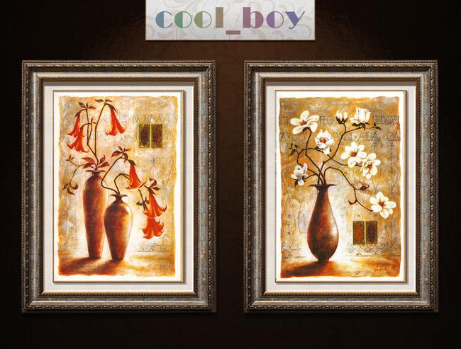 背景墙|装饰画 其他 装饰画 > 欧式复古风格线条花卉花瓶装饰画  下一图片