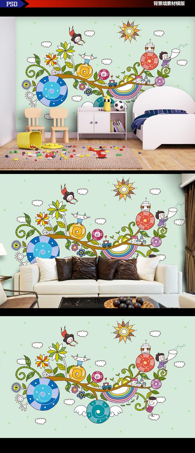高清手绘卡通四叶草小镇背景墙