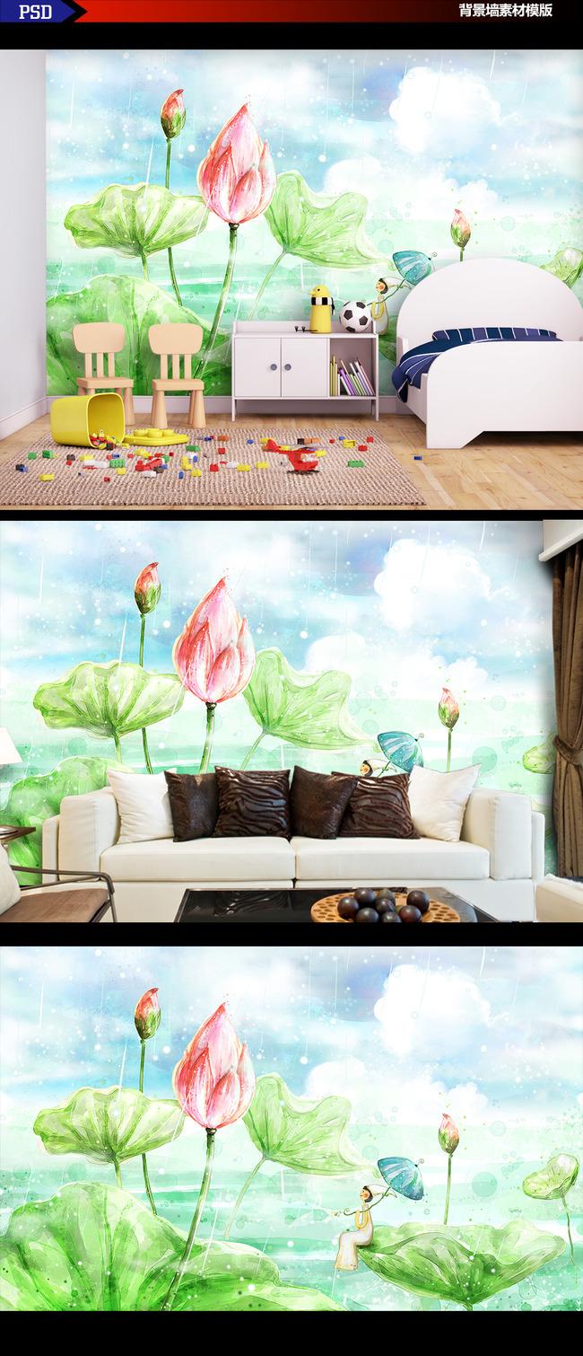 高清手绘风格荷花塘背景墙