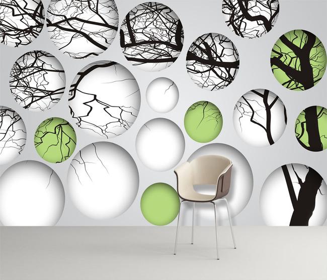 3d抽象树枝背景墙