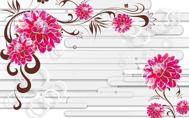 3d立体手绘花朵电视背景墙