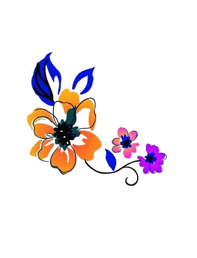 卡通彩色花朵花纹图案