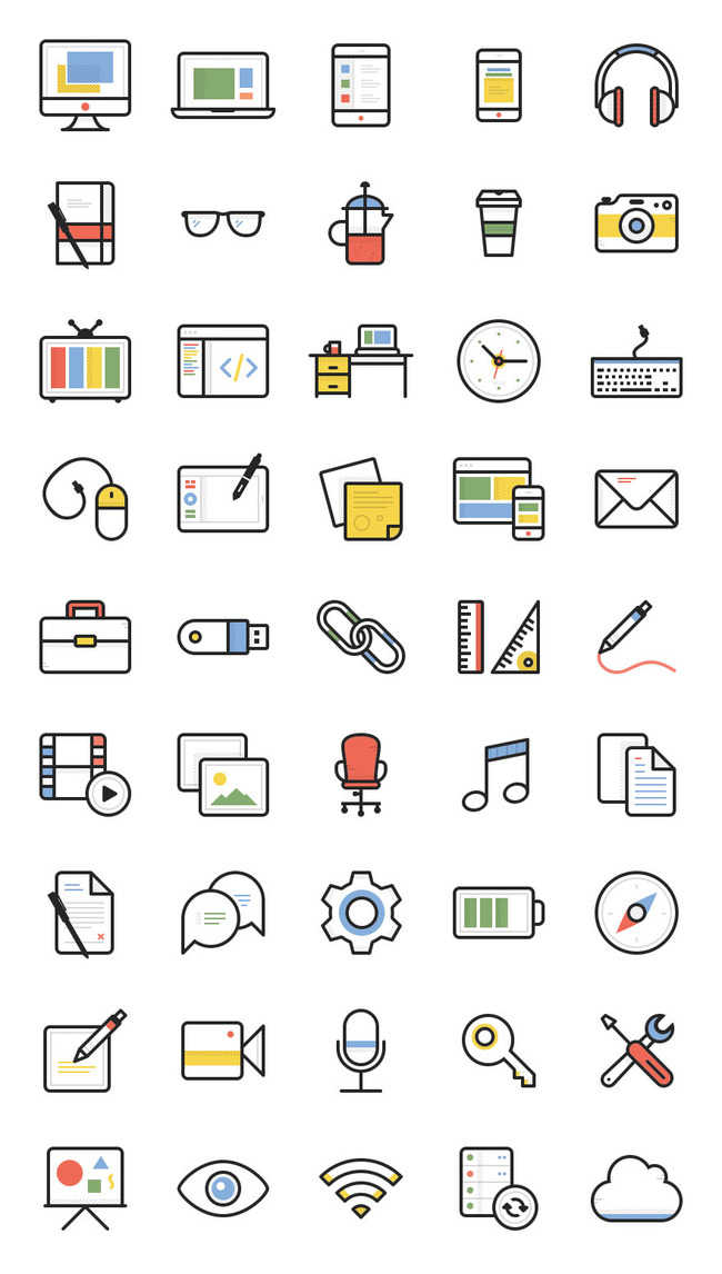 彩色办公文具线描小图标图片