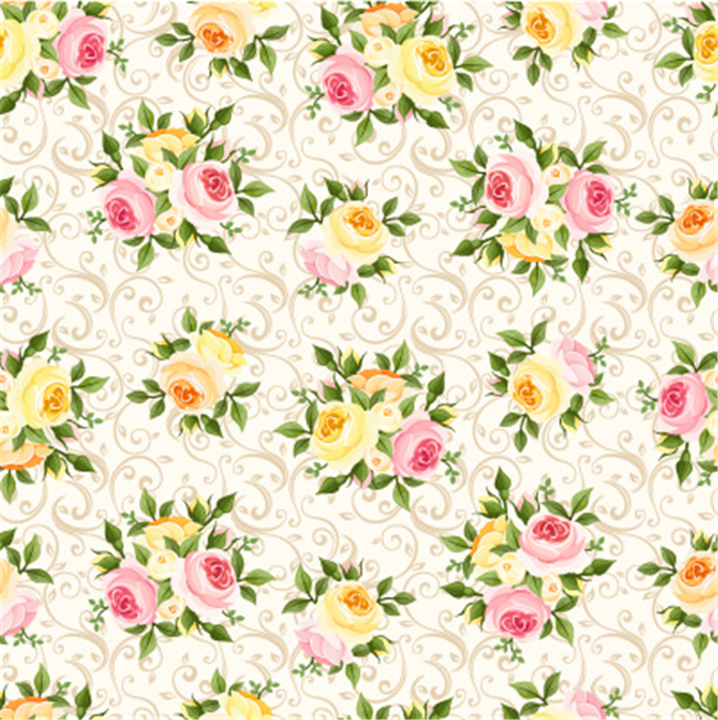 手绘韩式开放花朵绿叶矢量图案图片下载 亚麻面料 棉麻印花 服装面料