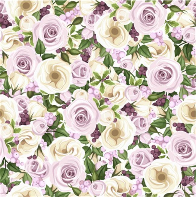 手绘紫色玫瑰花矢量图案