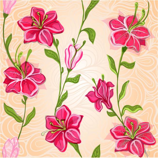 红色植物花朵矢量图案