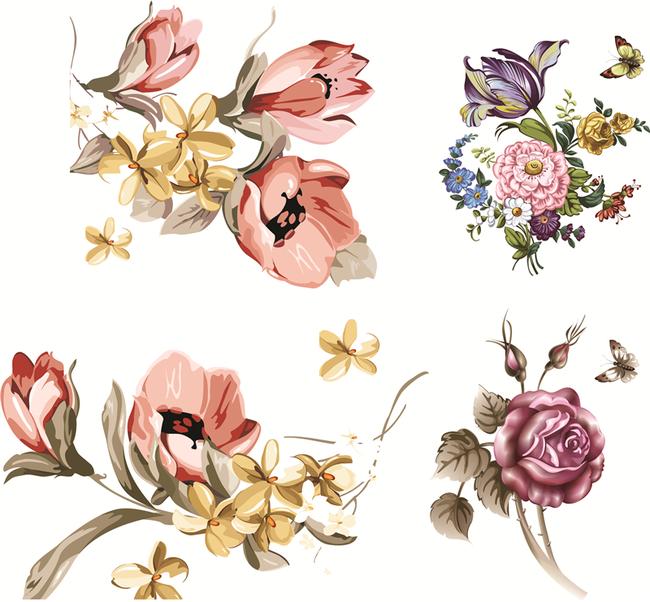 平面设计 花纹图案设计 花纹素材 > 韩式手绘复古花朵印花矢量图案