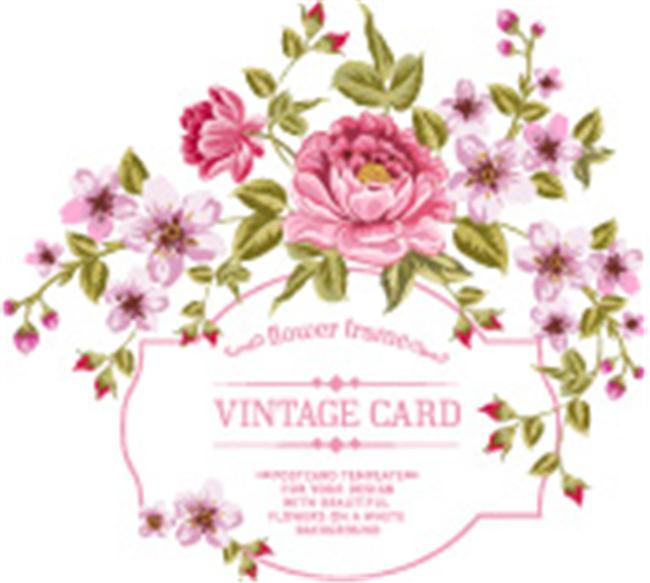 手绘玫瑰花朵边框矢量图案