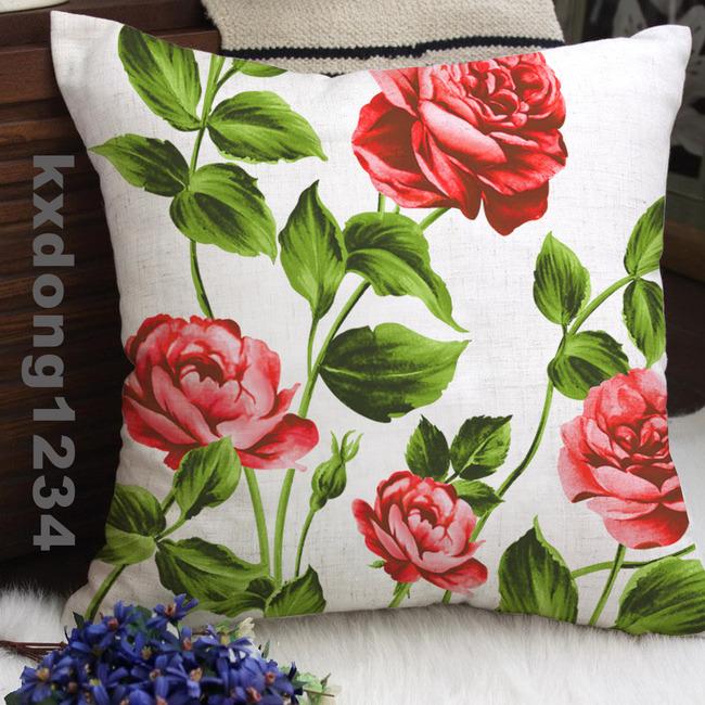手绘花开富贵抱枕图案设计