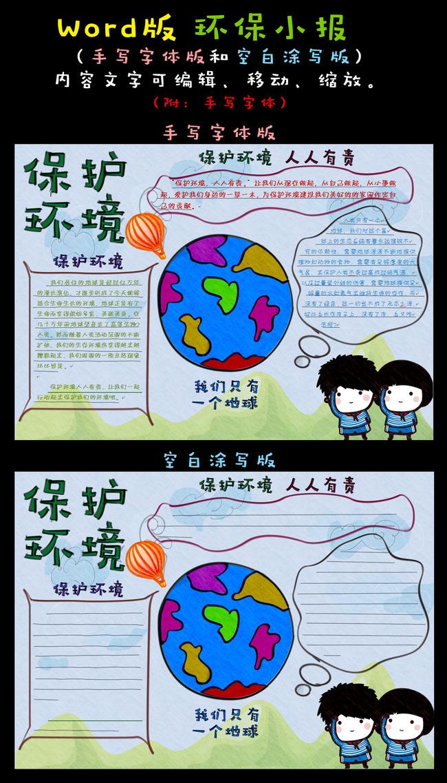 word电子小报植树节保护环境模板