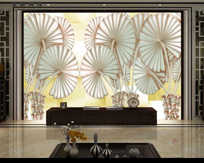 原创手绘异域风情3d冰晶棕榄背景墙