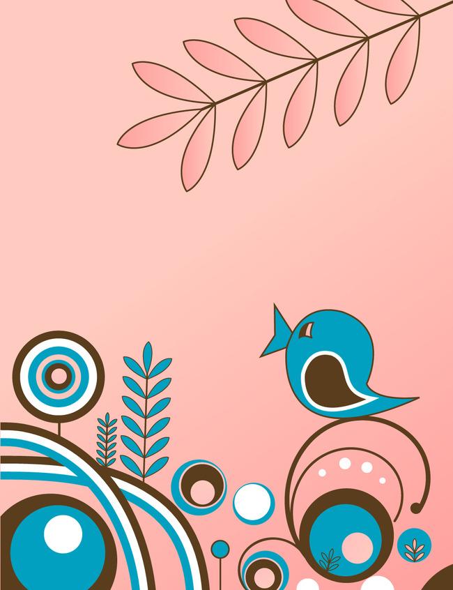 平面设计 花纹图案设计 卡通图案 > 小鸟在树上花纹布料面料花纹图案