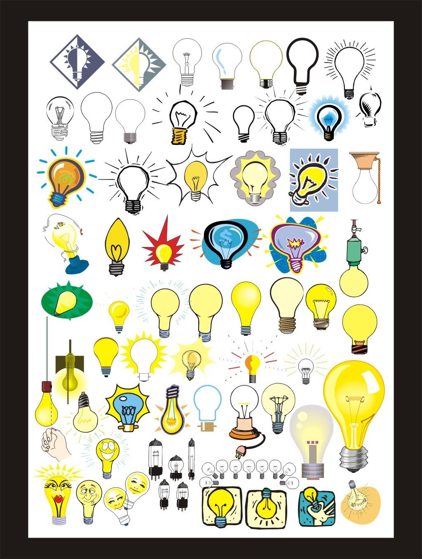 灯泡 卡通灯泡 矢量图灯泡矢量图 卡通灯泡 手绘灯泡 可爱灯泡 黑白
