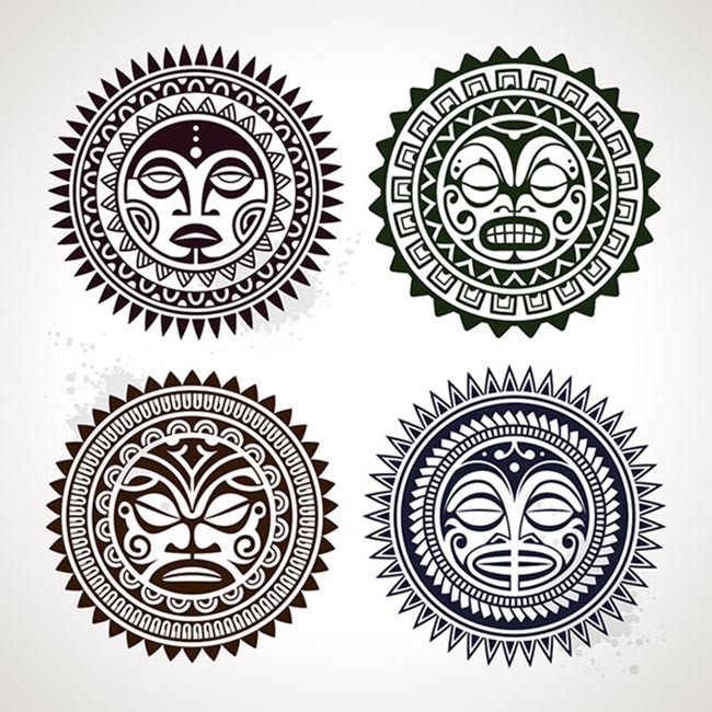 少数民族印花图案 潮流 t恤印花设计 服装印花 时尚插画 太阳神 包装