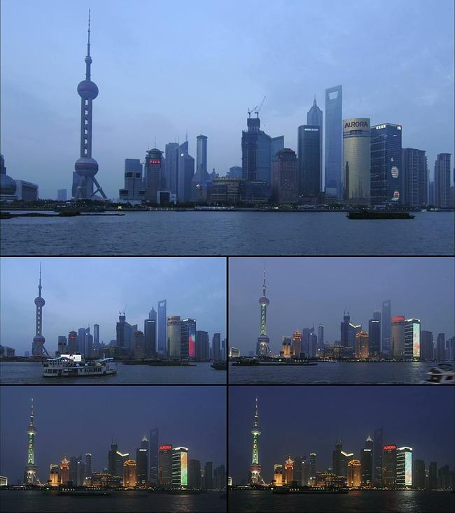 上海东方明珠夜晚延迟拍摄高清实拍视频