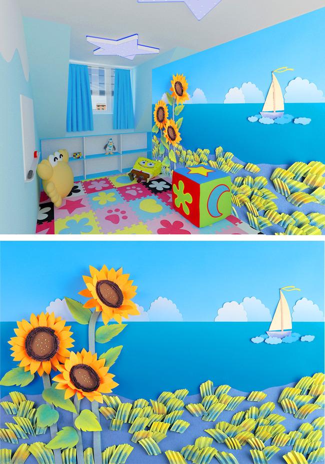 蓝天白云海水帆船向日葵草地儿童手绘背景