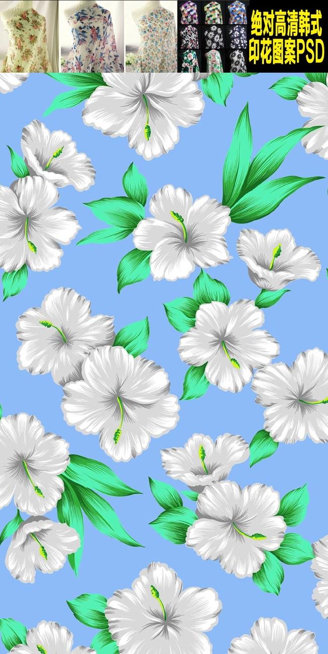 手绘韩式扶桑花花卉布料psd图案