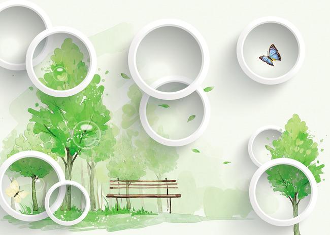 3d圆圈手绘树背景墙