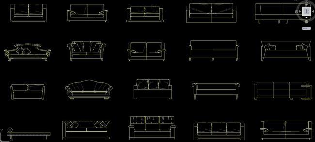 cad中式欧式沙发大全平面图立面图