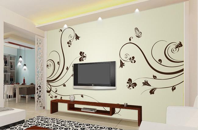 现代简约花纹客厅电视背景墙