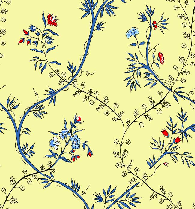 高清手绘黄底花朵psd图案图片下载 亚麻面料 棉麻印花 服装面料印花底