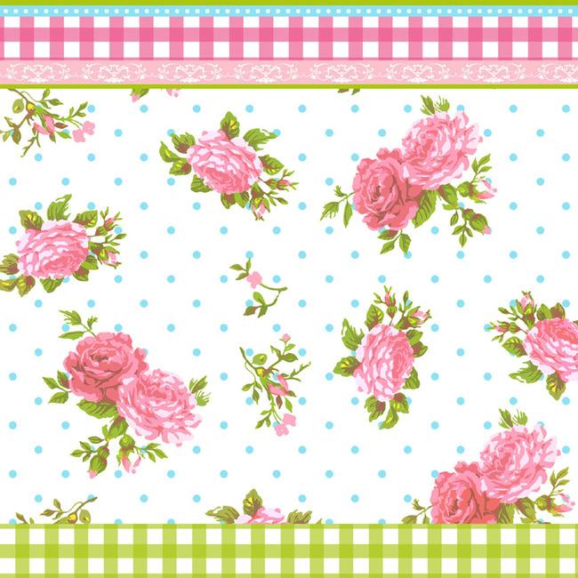 手绘粉色花朵绿叶psd图案