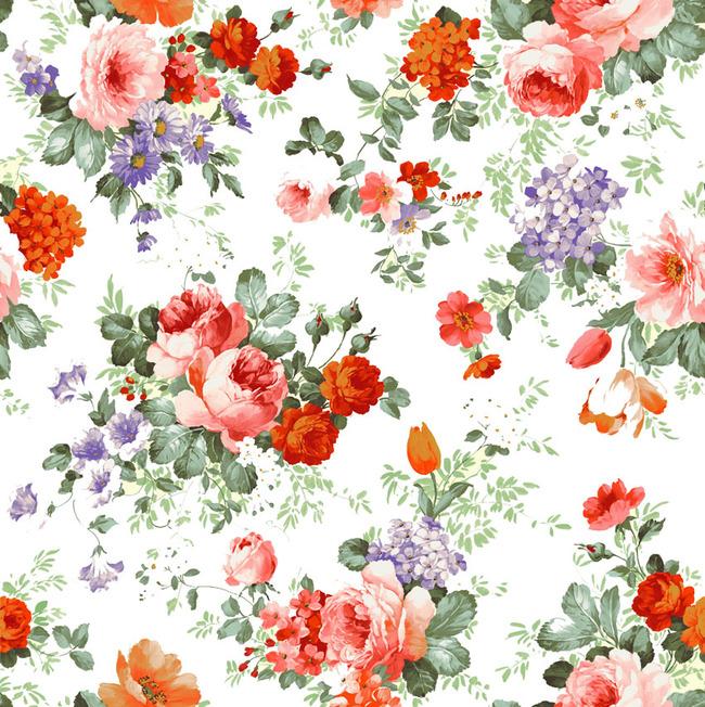 高清手绘复古花朵绿叶psd图案