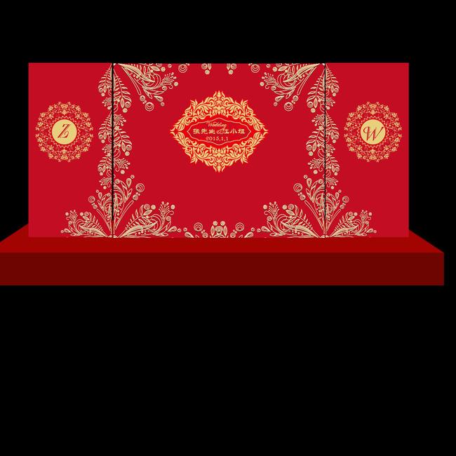 舞台背景 欧式高端婚礼 大红金色婚礼 青花瓷婚礼 迎宾背景喷绘 植物