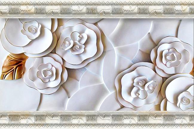 现代简约立体浮雕玫瑰蝴蝶壁画电视背景墙高清图片()