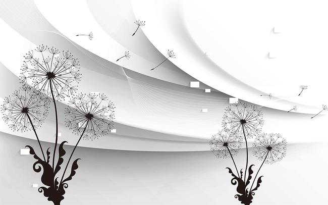 黑白蒲公英梦幻3d电视背景墙