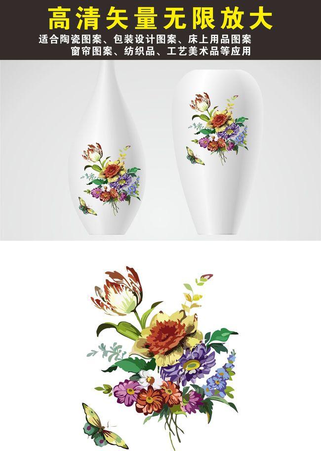 平面设计 花纹图案设计 花卉图案 > 手绘红色玫瑰花印花图案图片下